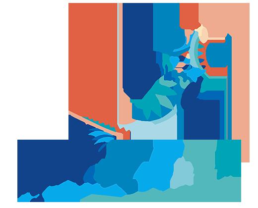 logo de nager dans le bonheur - square